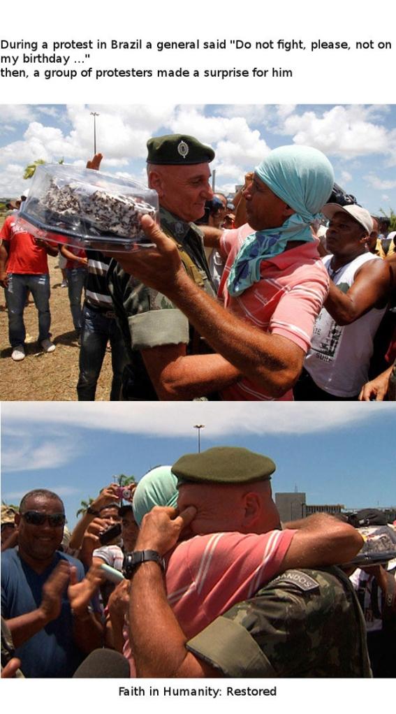 Quando há uma interação entre um manifestante e um militar 3